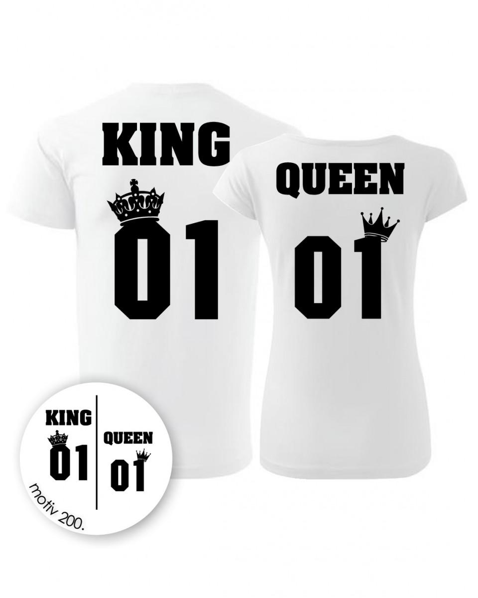 Trička pro páry King and Queen 200 bílé  1507d3dedf