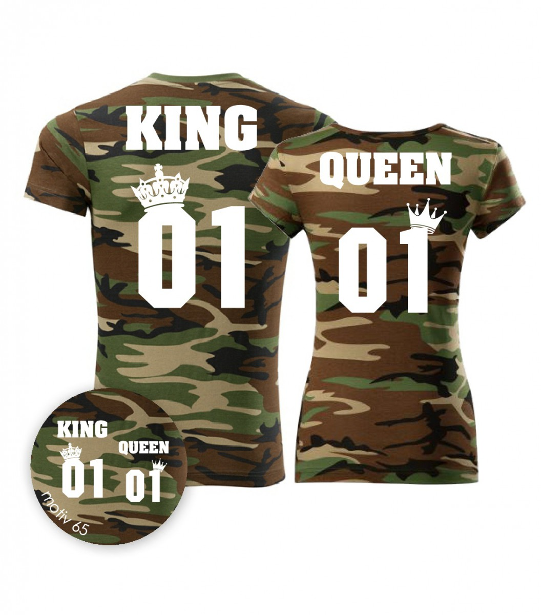 Trička pro páry King and Queen 065 Camouflage Brown  4eb69c1b45