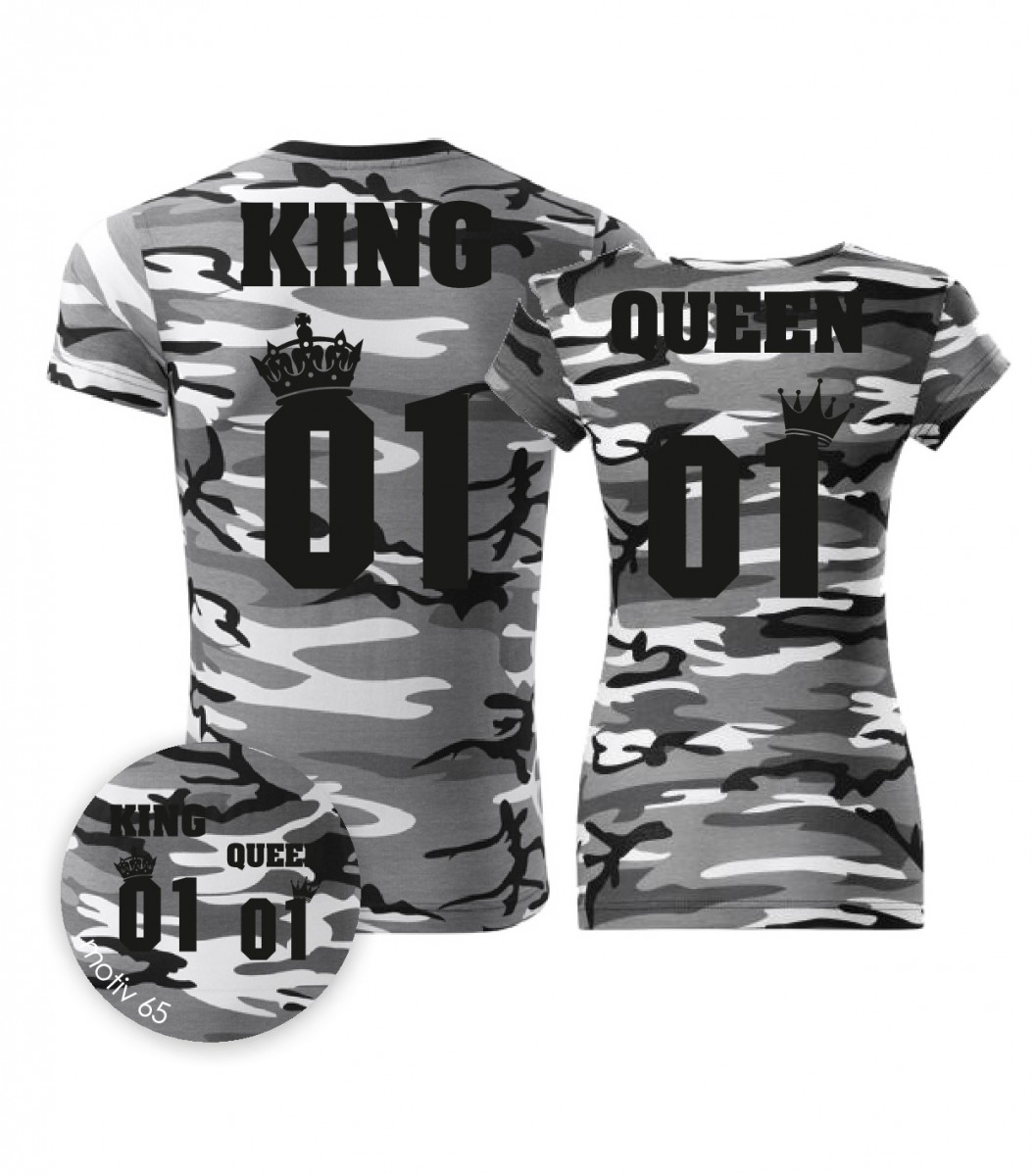 Trička pro páry King and Queen 065 Camouflage Gray  e9e0911235