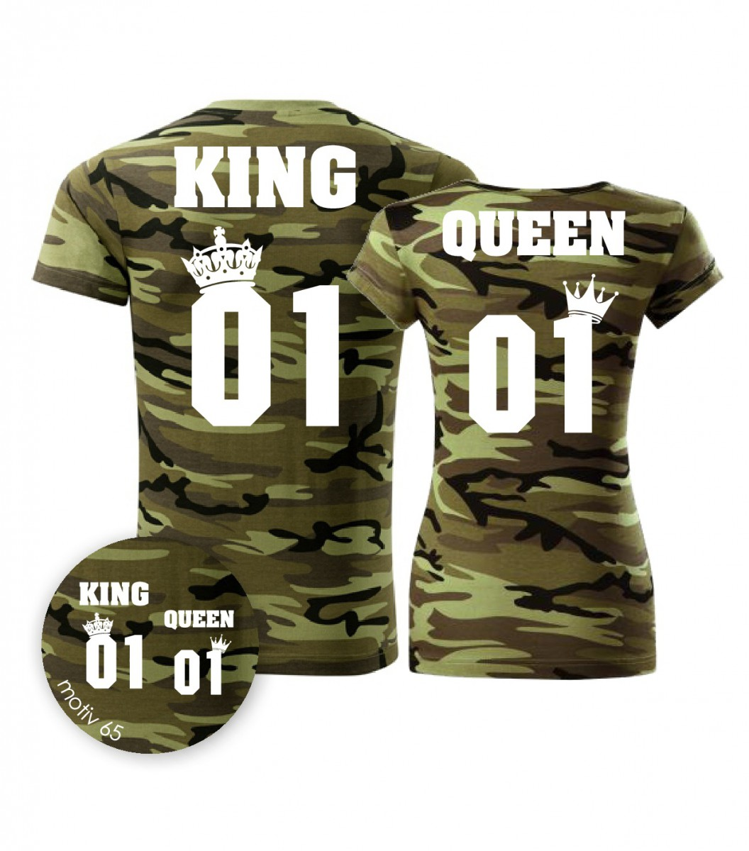 Trička pro páry King and Queen 065 Camouflage Green  0fa9bc611f